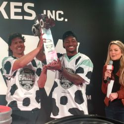 Allie LaForce with JJ Nunes and Stefon Diggs after winning the Farm Bowl.