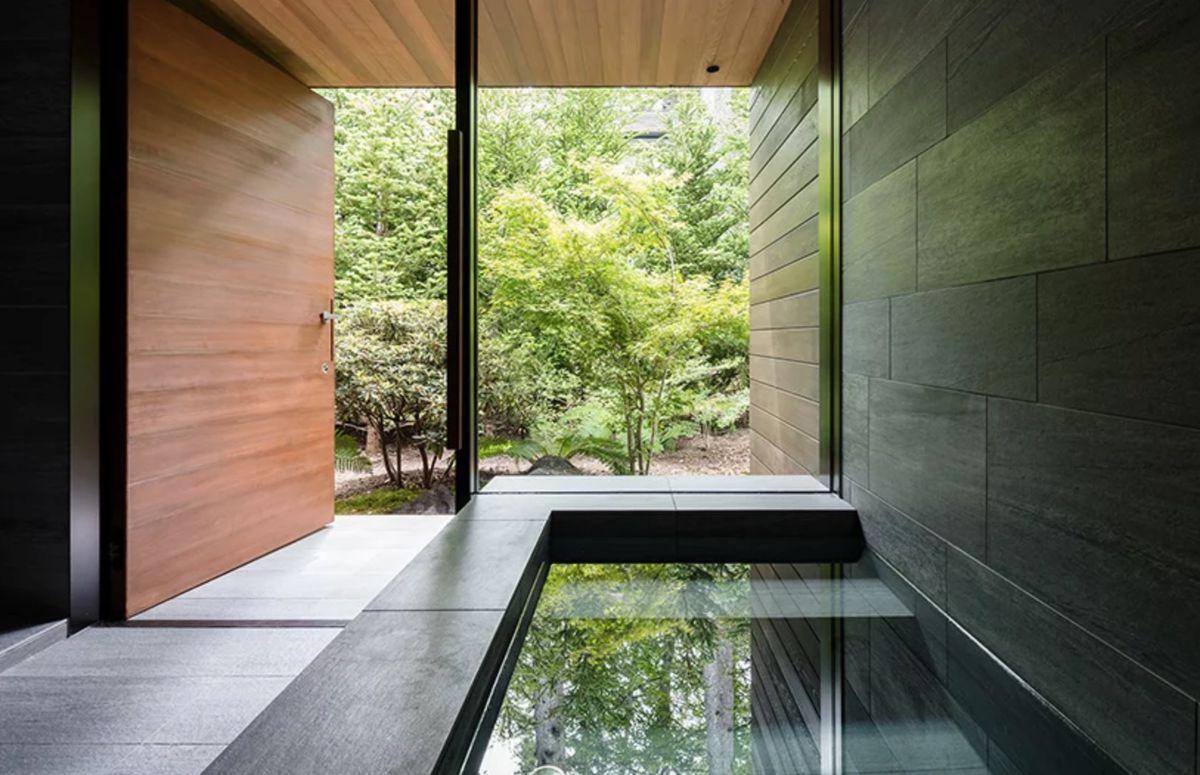 Bathroom with stone bathtub