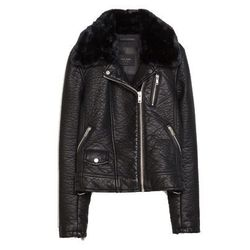"<b>Zara</b>, <a href=""http://www.zara.com/us/en/woman/outerwear/jackets/faux-leather-jacket-with-detachable-fur-collar-c670504p2038018.html"">$129</a>"