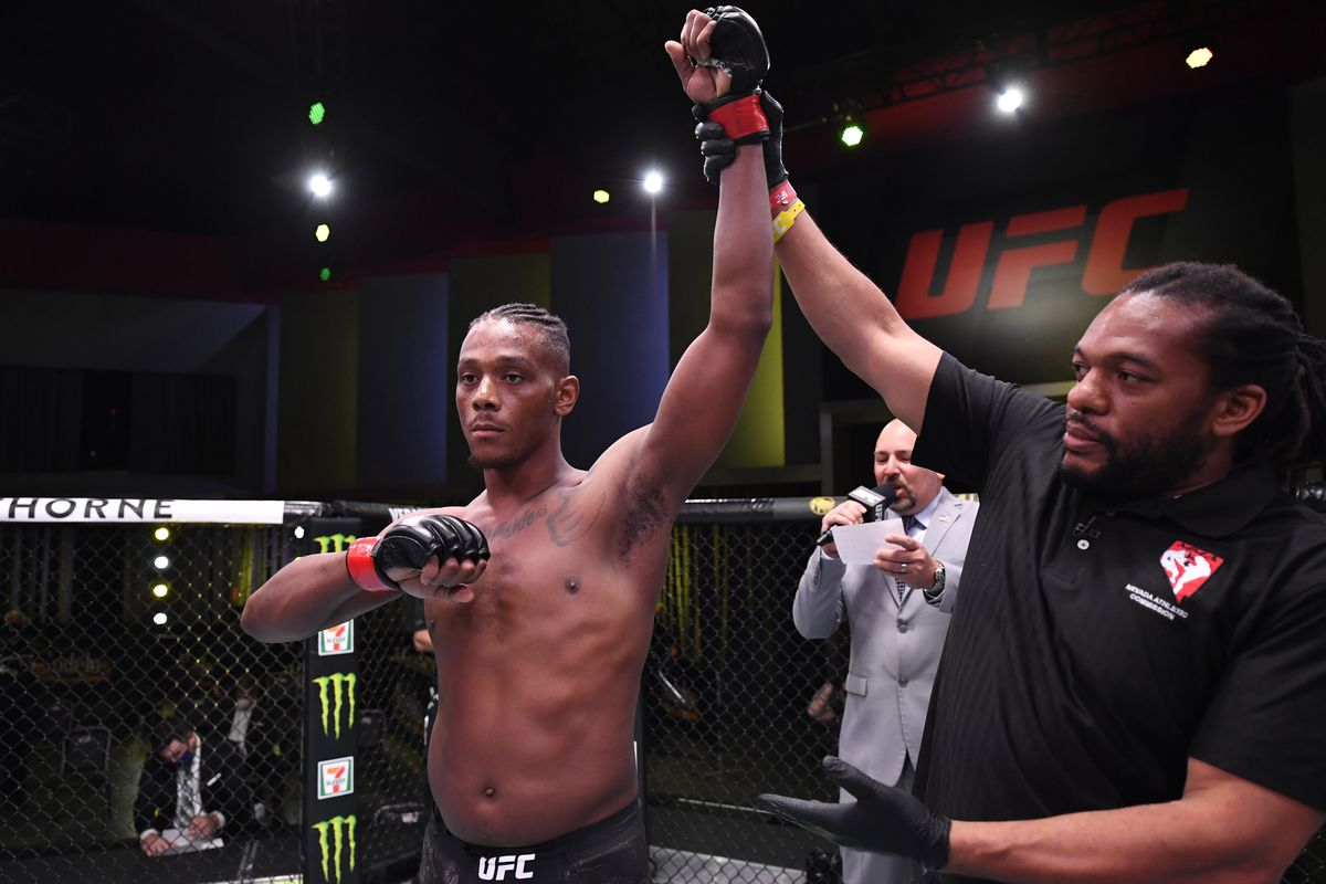 In this handout image provided by UFC, Jamahal Hill reacts after his knockout victory over Klidson Abreu in their light heavyweight fight during the UFC Fight Night event at UFC APEX on May 30, 2020 in Las Vegas, Nevada.