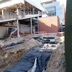 The hole dug in the sidewalk on Waveland