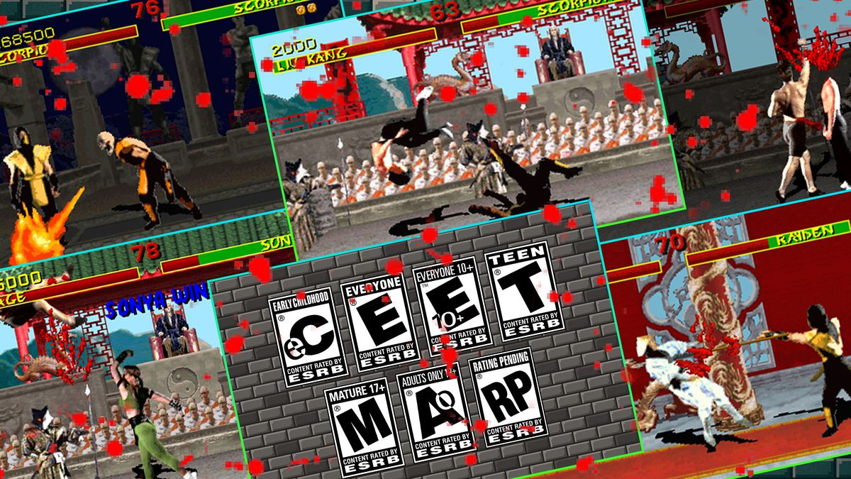 Graphic with five screens from the Mortal Kombat video game and one screen with violence ratings