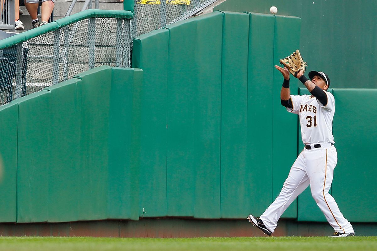 PITTSBURGH - JUNE 22:  Jose Tabata #31 of the Pittsburgh Pirates catches a ball in left field against the Baltimore Orioles during the game on June 22, 2011 at PNC Park in Pittsburgh, Pennsylvania.  (Photo by Jared Wickerham/Getty Images)