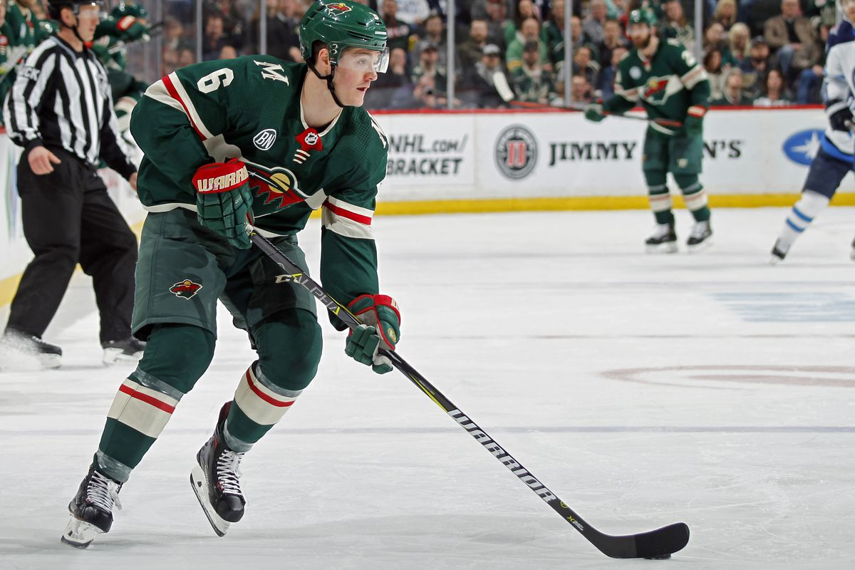 Ryan Donato #6 of the Minnesota Wild controls the puck during a game with the Winnipeg Jets at Xcel Energy Center on April 2, 2019 in St. Paul, Minnesota.