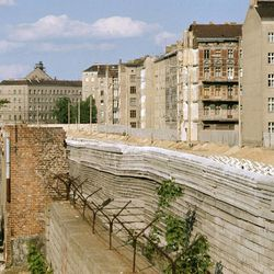 A section of the west side of Berlin Wall looking into East Berlin, is shown in July 1981. Construction of the wall began 20 years ago. Exact date is unknown.