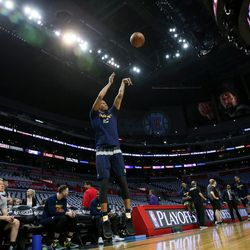 Utah Jazz guard Rodney Hood (5) warms up before Game 7 of the first round NBA playoffs series between the Utah Jazz and Los Angeles Clippers at the Staples Center in Los Angeles on Sunday, April 30, 2017.