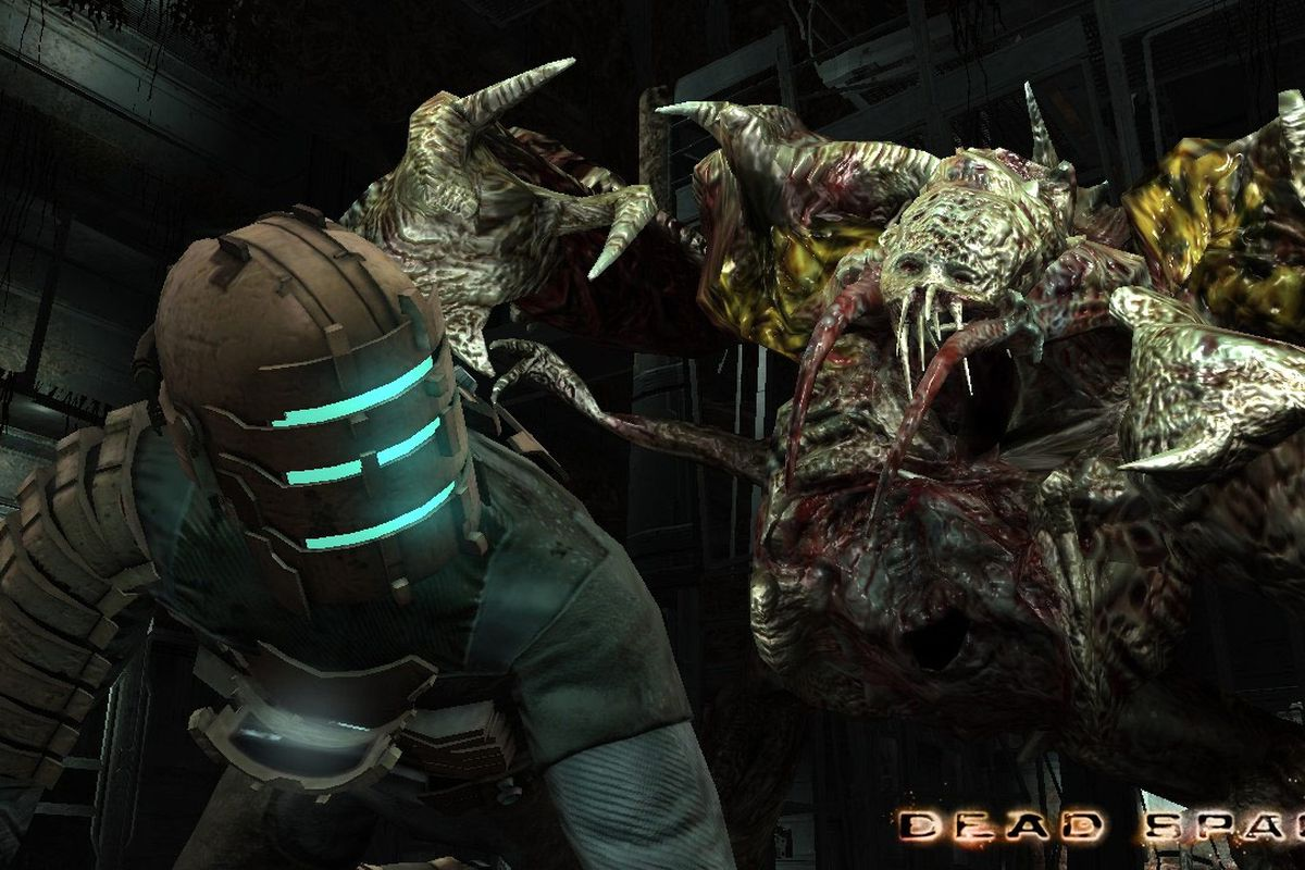 The main character from Dead Space, and engineer, downed before a mutated alien monster.