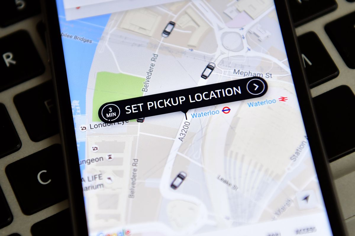 The Uber app on an iPhone.