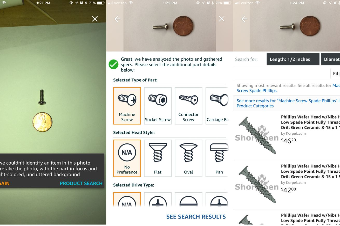 amazon s iphone app adds ar feature for identifying and buying small nuts and bolts