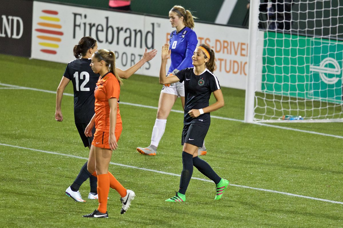 Christine Sinclair and Nadia Nadim combined to lead Portland Thorns FC to a 2-0 win over Western New York Flash Friday night.