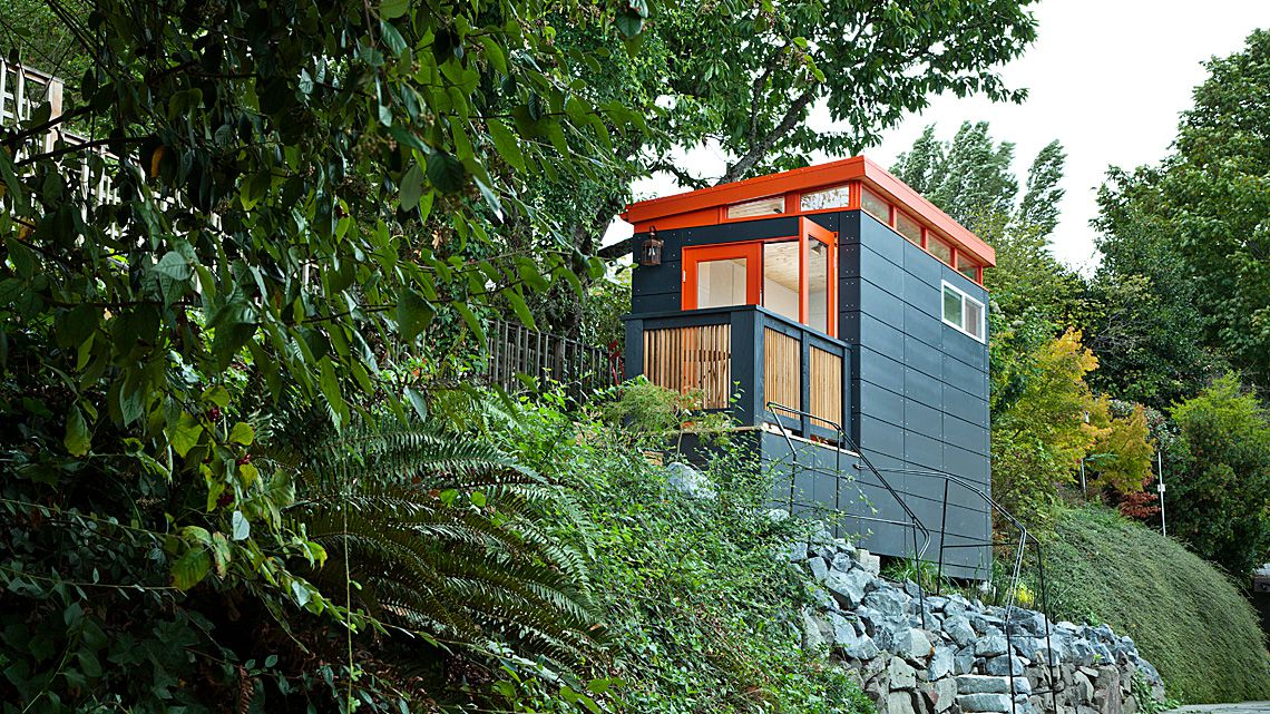 outdoor office shed. A \u201cSmall\u201d Shed By Modern-Shed Sits On A Forest Hill. Courtesy Of Outdoor Office