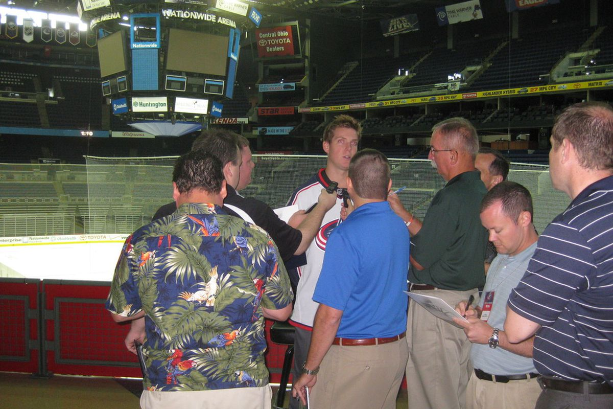 Steve Mason got a lot of attention at this year's Media Day interviews. Props to the Dispatch's Michael Arace for the courage to go with the Hawaiian shirt.