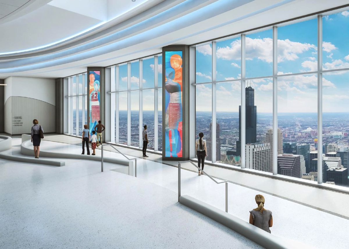 An architectural rendering of a proposed observation deck atop the Aon Center in downtown Chicago. A City Council committee OK'd the plan Thursday. | 601W Companies
