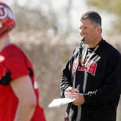 Utah Utes head coach Kyle Whittingham watches practice and the opening day of spring football in Salt Lake City Tuesday, March 19, 2013.
