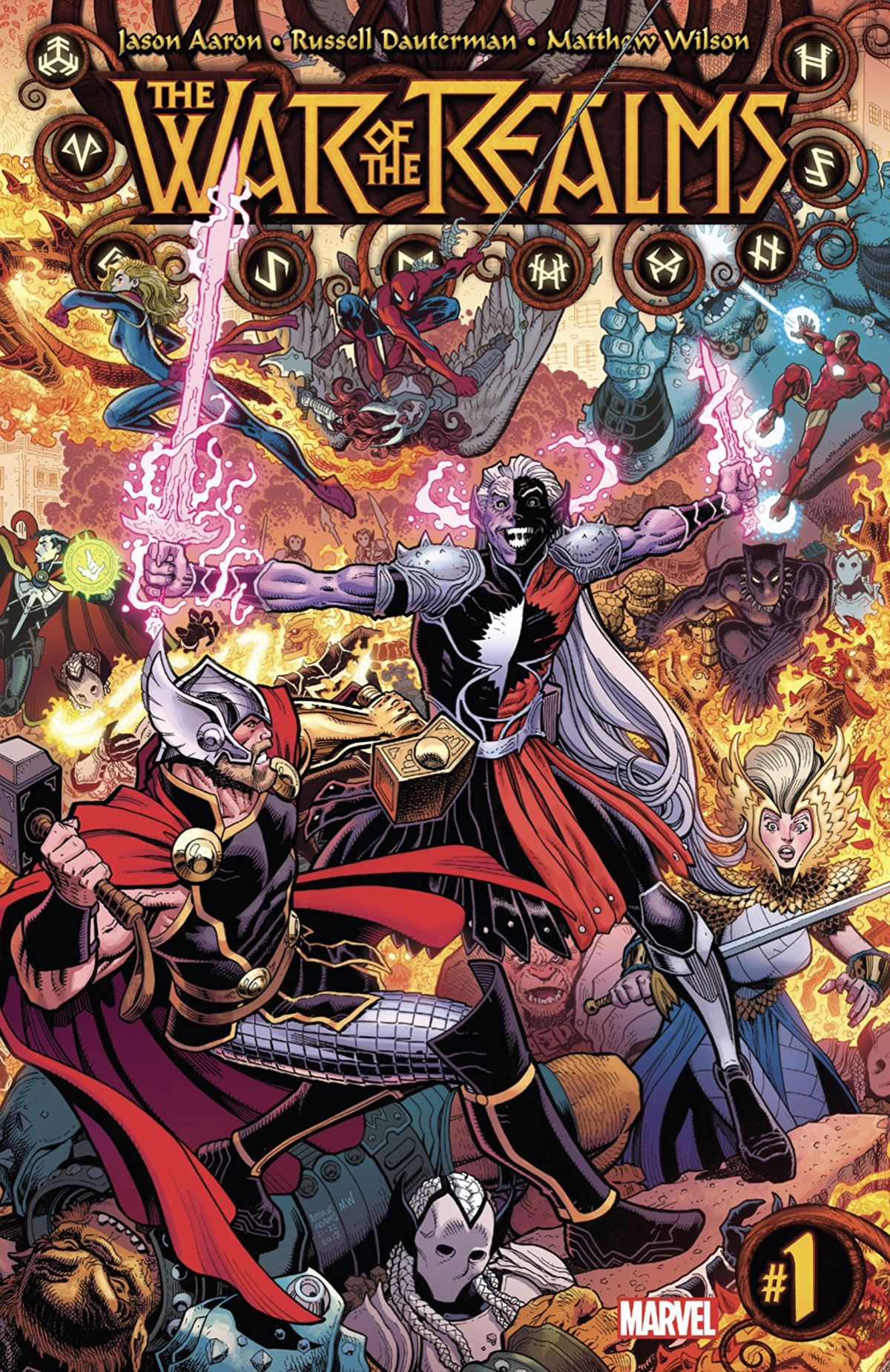 Malekith and Thor clash as their armies and allies battle behind them, on the cover of The War of the Realms #1, Marvel Comics (2019).