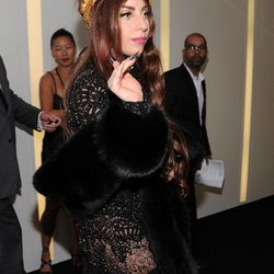 """Singer Lady Gaga arrives at a """"Lady Gaga Fame"""" fragrance launch event at the Guggenheim Museum on Thursday, Sept. 13, 2012 in New York. The black tie masquerade event will feature a performance art piece by Lady Gaga, """"Sleeping with Gaga."""" The film for """"Lady Gaga Fame"""", directed by Steven Klein, will also be unveiled during the evening."""