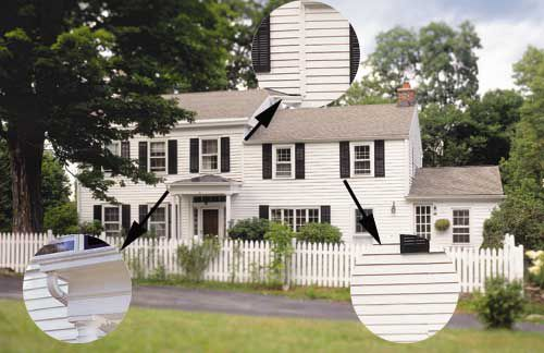 House with arrows pointing out window and roof lines to show historical details.