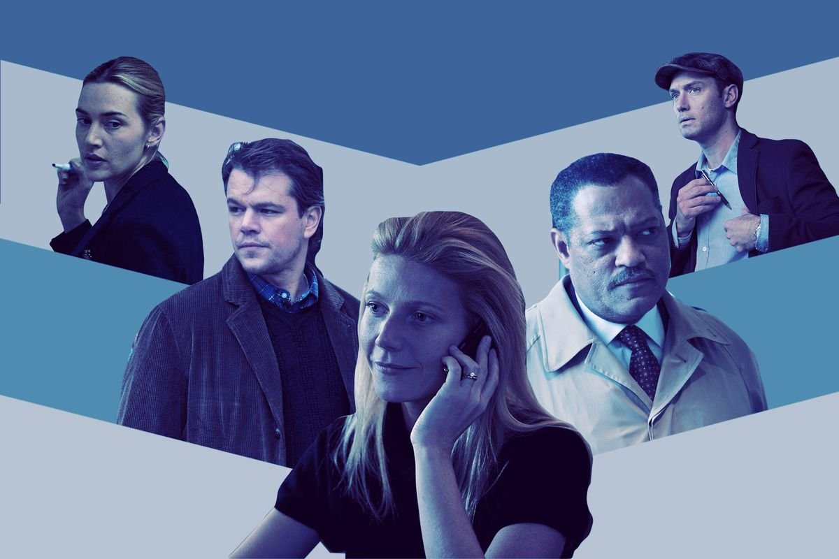 Collage of Kate Winslet, Matt Damon, Gwyneth Paltrow, Laurence Fishburne, and Jude Law from 'Contagion'