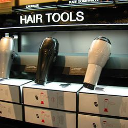 Play with hair tools up close! (Sadly, they're not plugged in.)
