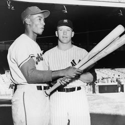 Ernie and Mickey Mantle at the All-Star Game in Baltimore, July 8, 1958