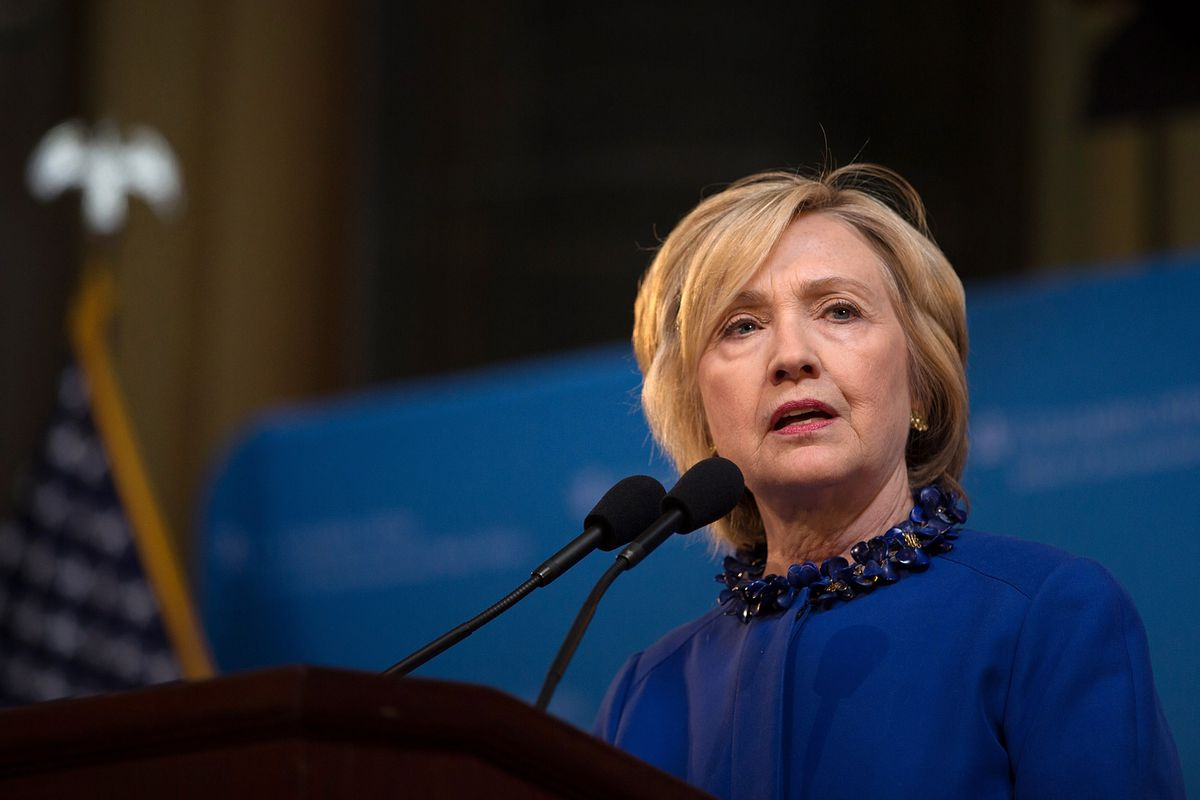 Democratic presidential hopeful and former Secretary of State Hillary Clinton speaks during the David N. Dinkins Leadership and Public Policy Forum at Columbia University April 29, 2015 in New York City.