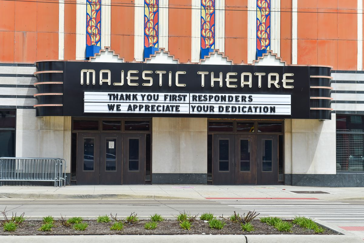 APRIL 26: A sign displays a positive message thanking first responders outside of a closed Majestic Theatre as the coronavirus pandemic continues on April 26, 2020 in Detroit, Michigan. Michigan Governor Gretchen Whitmer issued an executive order banning all gatherings, public or private resulting in the closing of most businesses such as event and concert venues in the State due to the coronavirus (COVID-19) global pandemic.