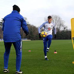 Ross Barkley first Chelsea training session