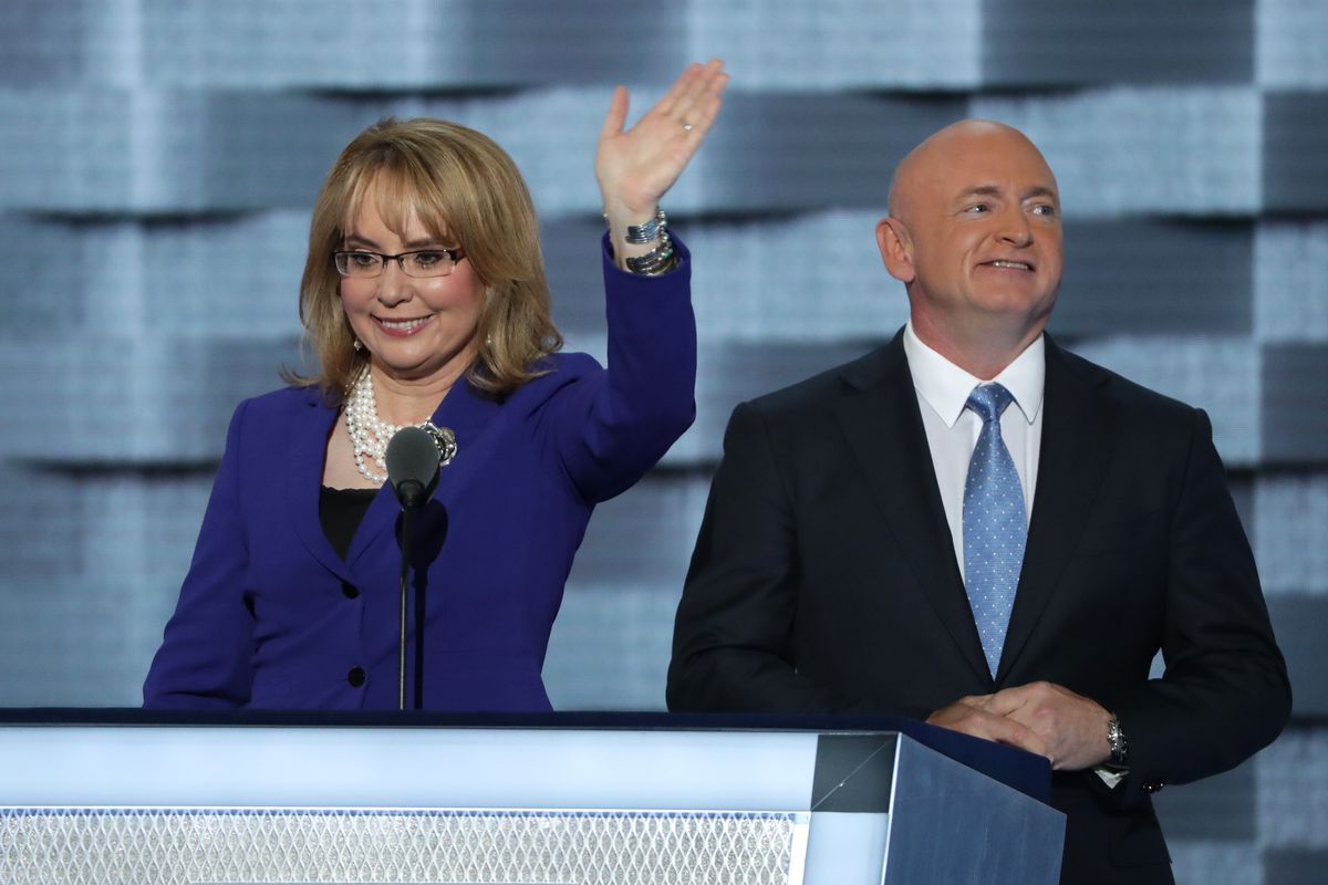 Gabby Giffords and Mark Kelly at the 2016 Democratic National Convention.