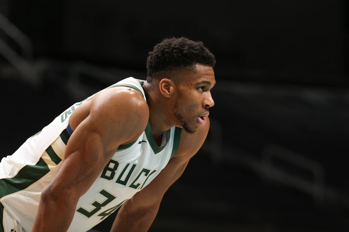 Giannis Antetokounmpo of the Milwaukee Bucks looks on during the game against the Charlotte Hornets on January 30, 2021 at Spectrum Center in Charlotte, North Carolina.