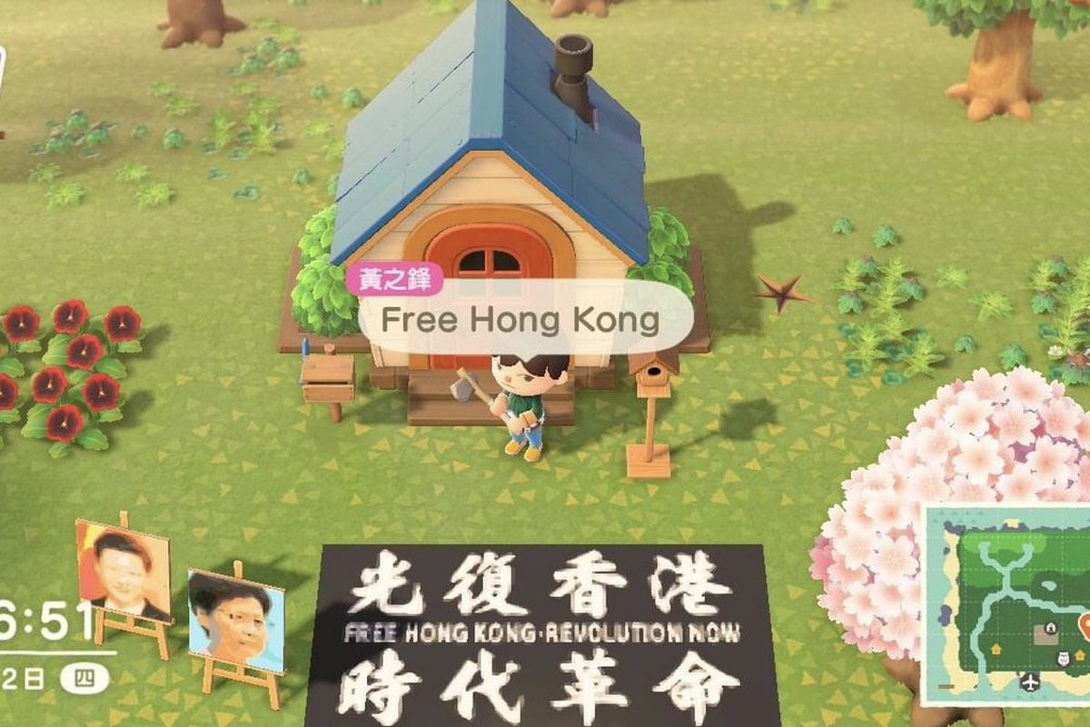 """in-game image of an islanders village with a poster saying """"Free Hong Kong Revolution Now"""""""