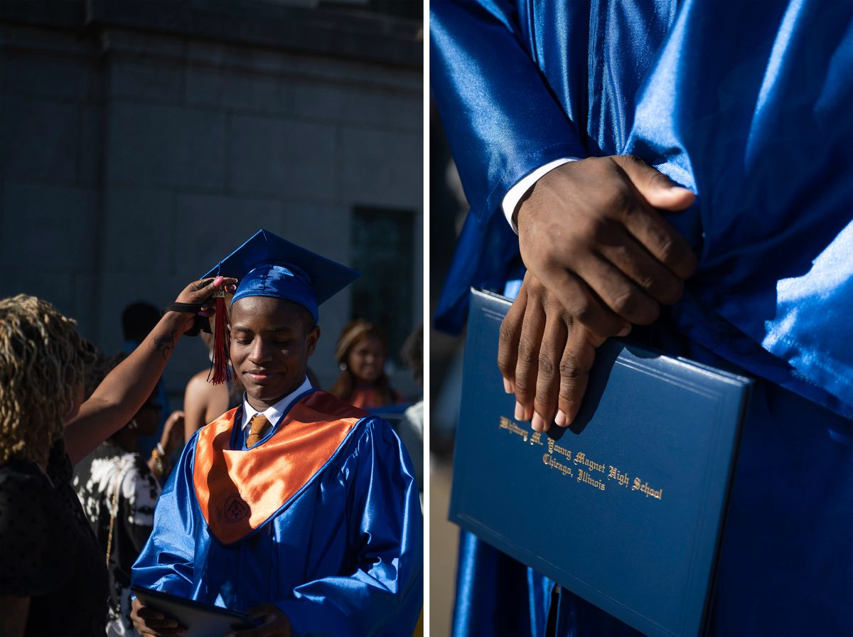 (Left) A woman adjusts the tassel on a young man's graduation cap as the sun beams down on them both. (Right) A young man in a blue graduation gown clutches his Whitney M. Young Magnet High School diploma with both hands.