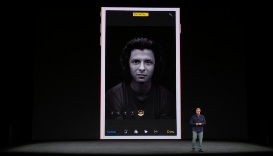 Still from Apple presentation featuring new Portrait Mode lighting