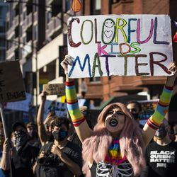 """Thousands participate in the """"Drag March for Change,"""" led by black drag queens, in the Boystown neighborhood on Chicago's North Side, Sunday afternoon, June 14, 2020."""