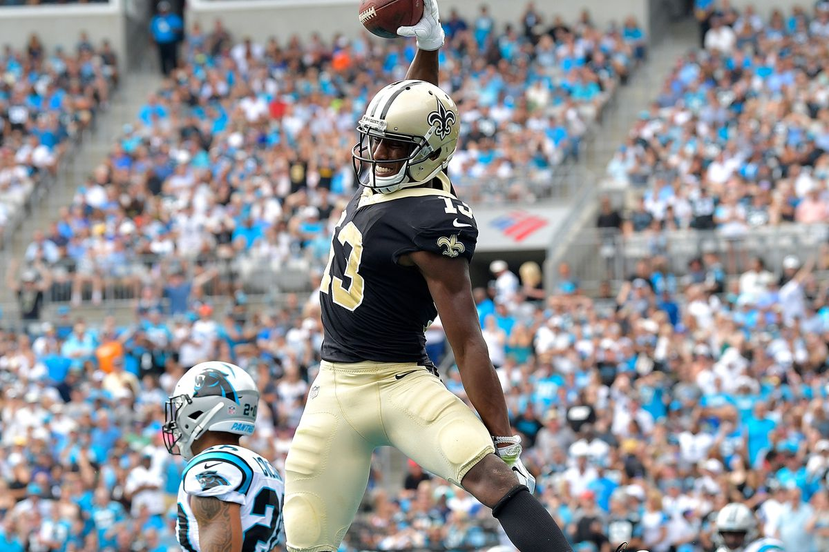 CHARLOTTE, NC - New Orleans Saints wide receiver Michael Thomas (13) celebrates after scoring a touchdown against the Carolina panthers defense during a game at Bank of America Stadium.