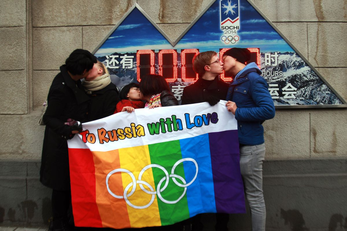 LGBT activists protest Russia's anti-gay laws in Beijing on February 14, 2014.