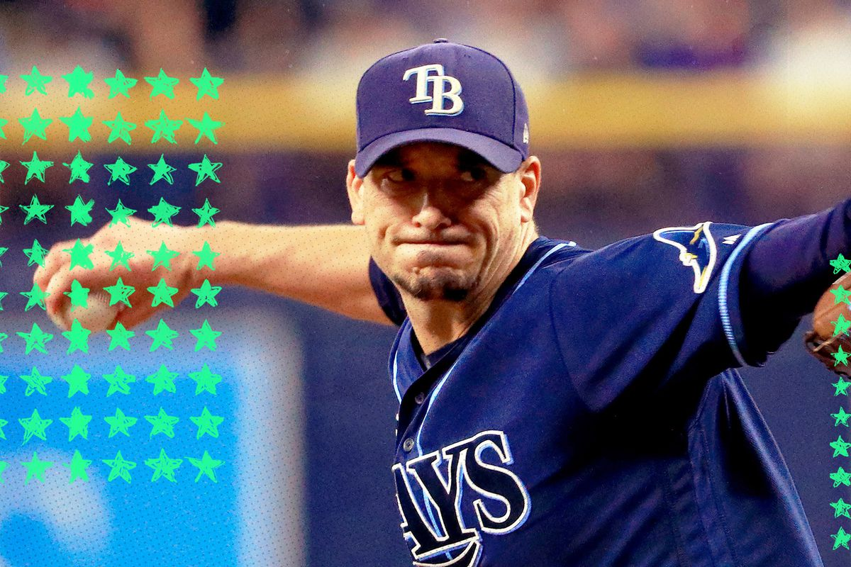Tampa Bay Rays pitcher Charlie Morton winding up to throw a pitch! The MLB playoffs should be fun.