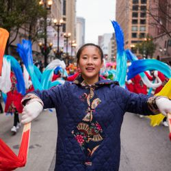 A member of the Indianapolis Chinese Community Center performs in the 85th Annual Thanksgiving Day Parade on November 22, 2018   Max Herman/For the Sun-Times