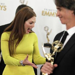Actress Julianne Moore, winner Outstanding Lead Actress In A Miniseries or Movie for 'Game Change',  backstage at the 64th Primetime Emmy Awards at the Nokia Theatre on Sunday, Sept. 23, 2012, in Los Angeles.