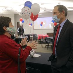 Utah first lady Jeanette Herbert talks to Rep. John Curtis, R-Utah at a Republican election night event at the Utah Association of Realtors building in Sandy on Tuesday, Nov. 3, 2020. Curtis' opponent, DemocratDevin Thorpe, conceded the race Tuesday night.