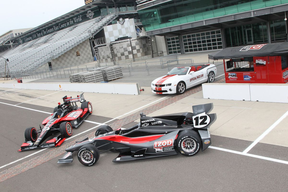 The 2012 IndyCar concept cars, unveiled today at the Indianapolis Motor Speedway. (Photo: Ron McQueeney/IndyCar.com)
