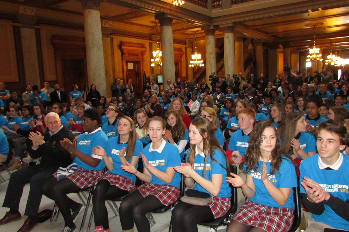 Students using vouchers and from charter schools attended a rally for school choice at the Statehouse in 2015.