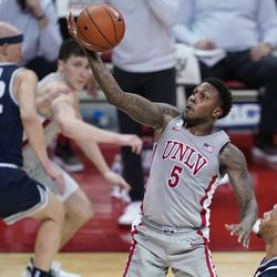 UNLV's David Jenkins Jr. shoots against Utah State during game Wednesday, Jan. 27, 2021, in Las Vegas.