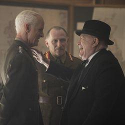 "John Slattery as Gen. Dwight D. Eisenhower, left, Danny Webb as Field Marshal Alan Brook, middle, and Brian Cox as Winston Churchill in ""Churchill."""