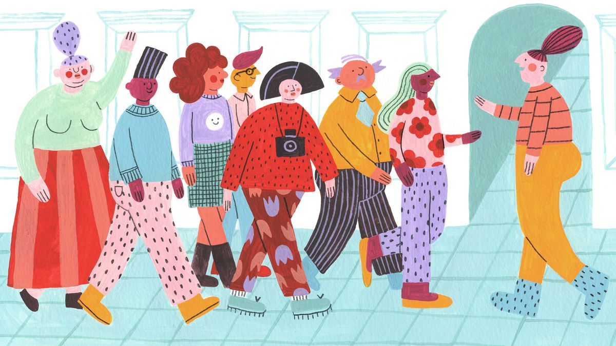 A colorful group of adults on an indoor walking tour being guided by a man who is facing the group. Some are holding cameras, one woman is raising her hand to ask a question. Illustration.