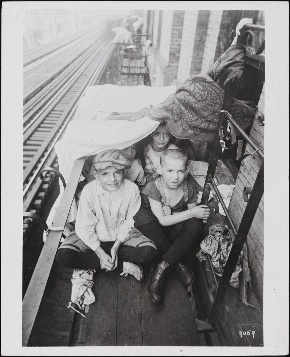 Kids on fire escape 1916