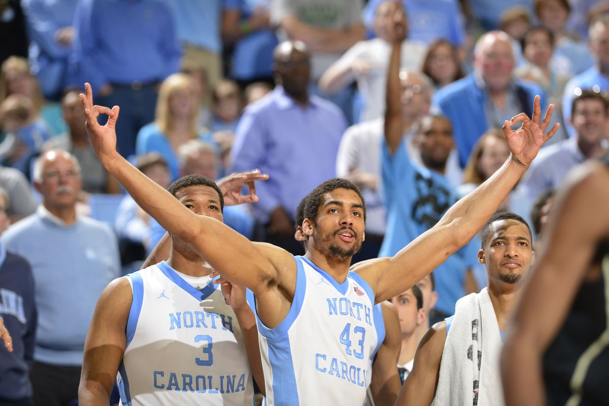 James Michael McAdoo and Kennedy Meeks celebrate a blowout win over the Deacs