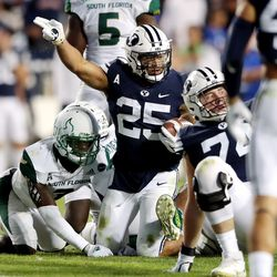 Brigham Young Cougars running back Tyler Allgeier (25) motions first down after a run as BYU and USF play a college football game at LaVell Edwards Stadium in Provo on Saturday, Sept. 25, 2021. BYU won 35-27.