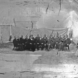 This 1868 photo shows a front row of Brigham Young, center, with George A. Smith, left, and Daniel H. Wells, right, with the 12 apostles of the LDS Church in the back row.