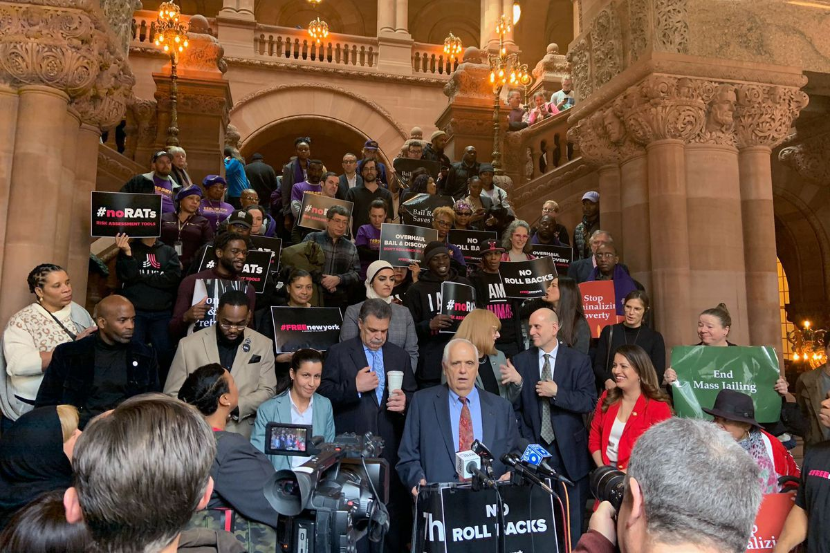 State Assemblyman Joe Lentol (D-Brooklyn) speaks at a rally against changes to the bail reform law.