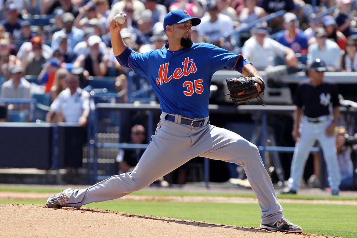 April 4, 2012; Tampa, FL, USA; New York Mets starting pitcher Dillon Gee (35) throws a pitch in the first inning against the New York Yankees at George M. Steinbrenner Field. Mandatory Credit: Kim Klement-US PRESSWIRE